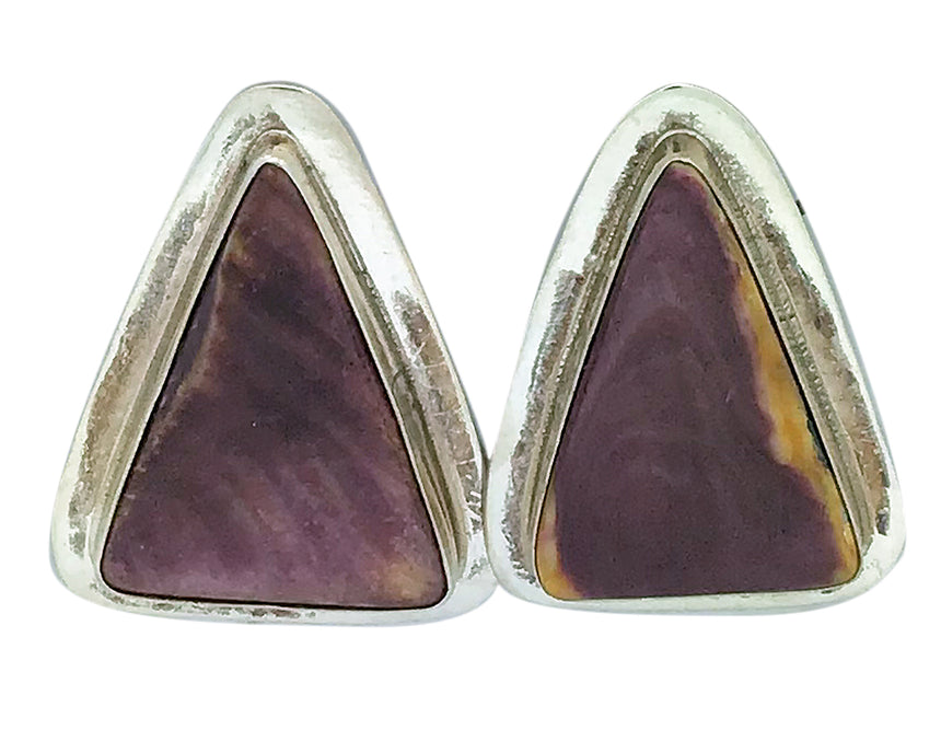 Andy Cadman, Earrings, Purple Spiny Oyster Shell, Navajo Handmade, 1 3/8