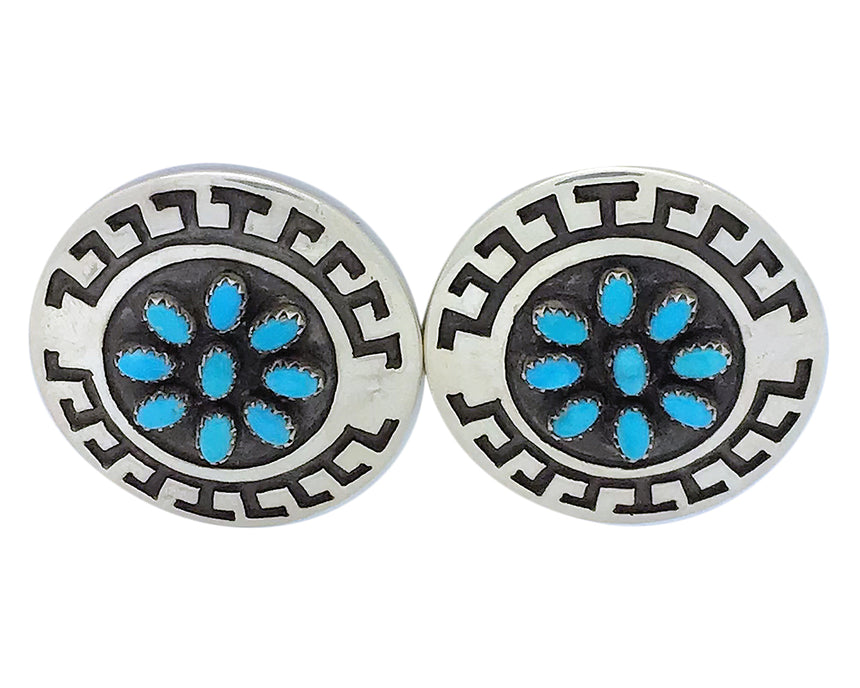Roscoe Scott, Pierced Earrings, Kingman Turquoise, Navajo Handmade, 1 1/2