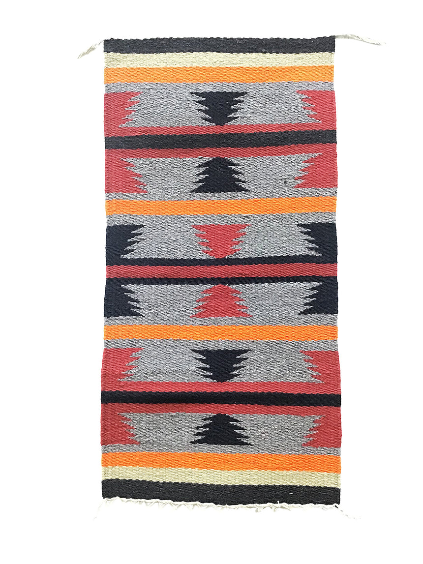 "Edith Smith, Gallup Throw Rug, Navajo Handwoven, Wool, Cotton, 36"" x 18"""
