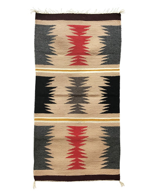 "Load image into Gallery viewer, Jennie Peterson, Gallup Throw Rug, Navajo Handwoven, Wool, Cotton, 38"" x 20"""