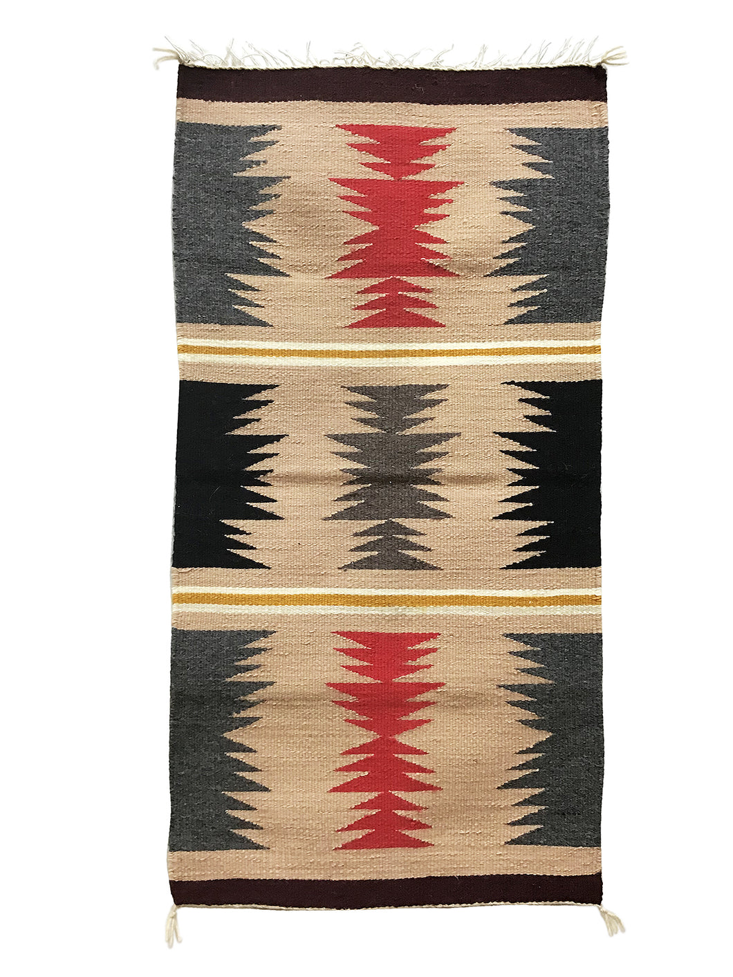 "Jennie Peterson, Gallup Throw Rug, Navajo Handwoven, Wool, Cotton, 38"" x 20"""