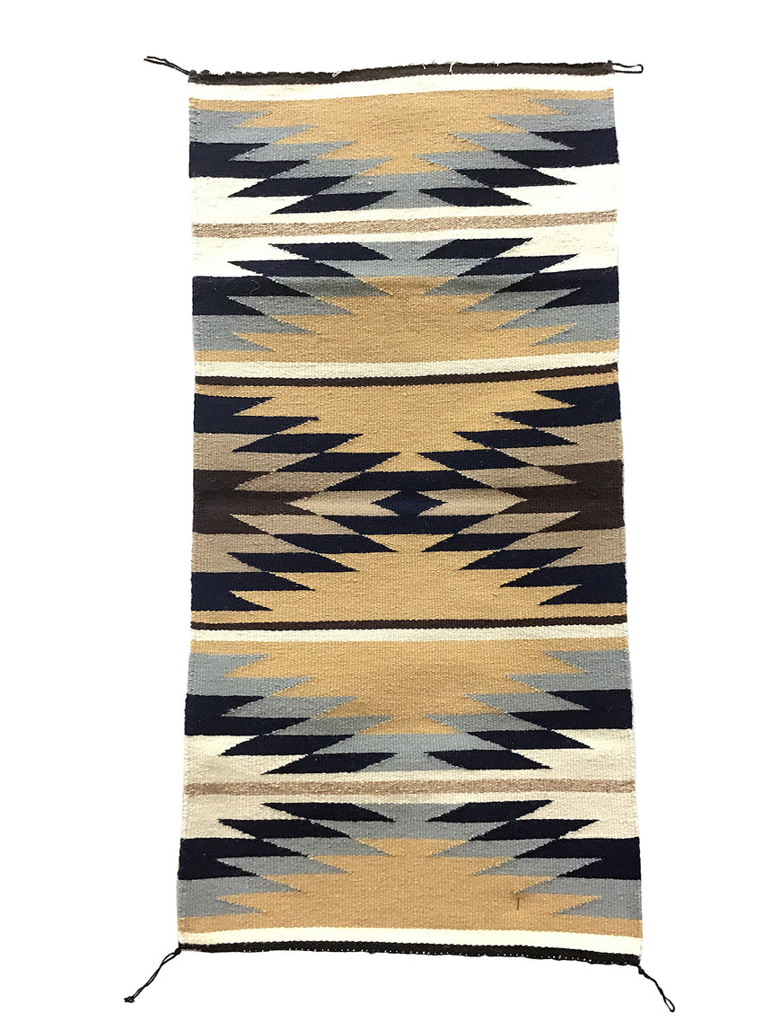 "Gallup Throw Rug, Navajo Handwoven, Wool, Cotton, 35"" x 17"""