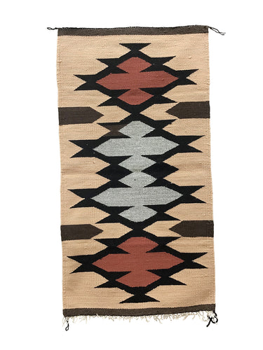 "Faye Peterson, Gallup Throw Rug, Navajo Handwoven, Wool, Cotton, 38"" x 19"""