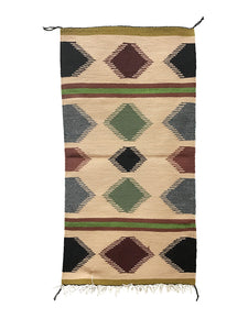 "Gallup Throw Rug, Navajo Handwoven, Wool, Cotton, 38"" x 19"""