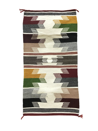 "Gallup Throw Rug, Navajo Handwoven, Wool, Cotton, 33"" x 17 1/2"""