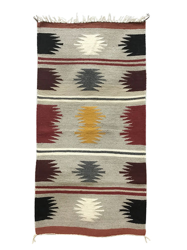 "Jennie Peterson, Gallup Throw Rug, Navajo Handwoven, Wool, Cotton, 37"" x 19"""