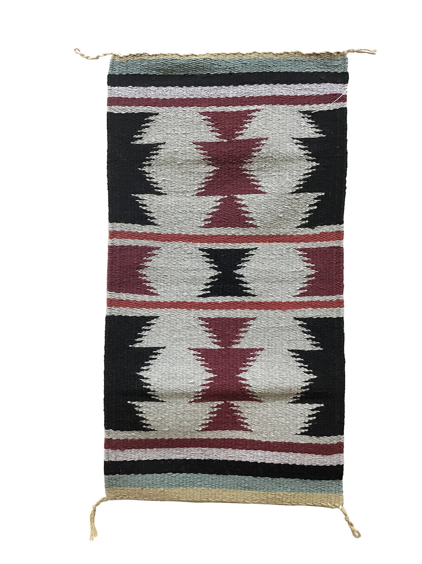 "Edith Smith, Gallup Throw Rug, Navajo Handwoven, Wool, Cotton, 36"" x 19"""