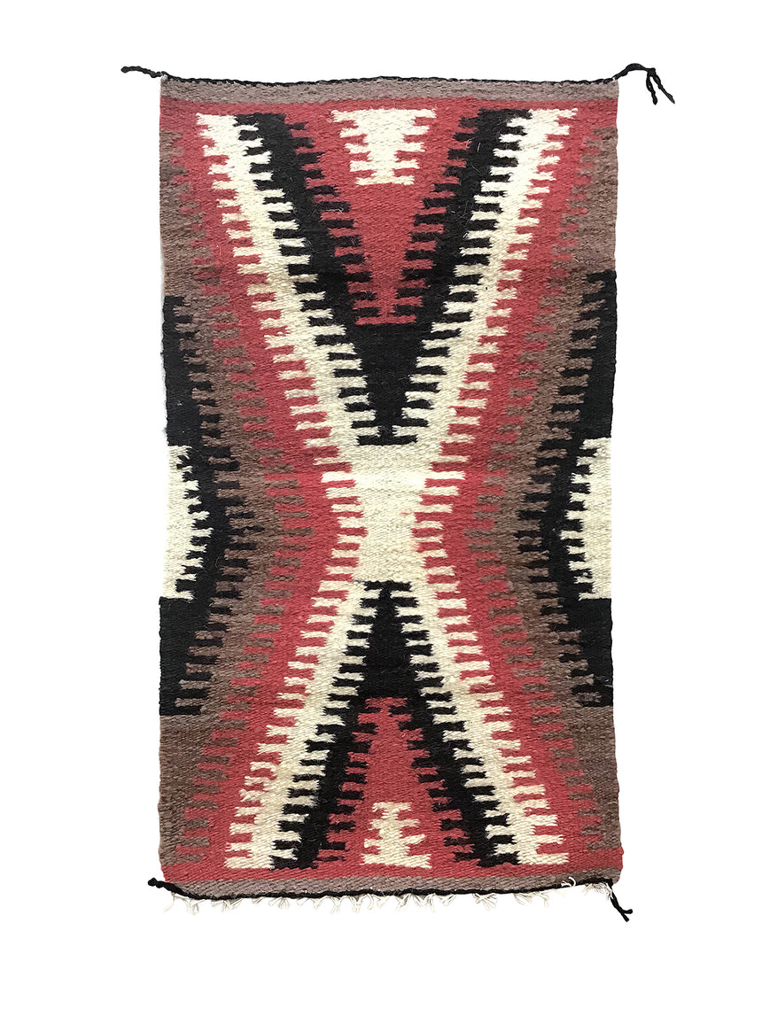 "Marie Skeet,, Gallup Throw Rug, Navajo Handwoven, Wool, Cotton, 33"" x 18"""