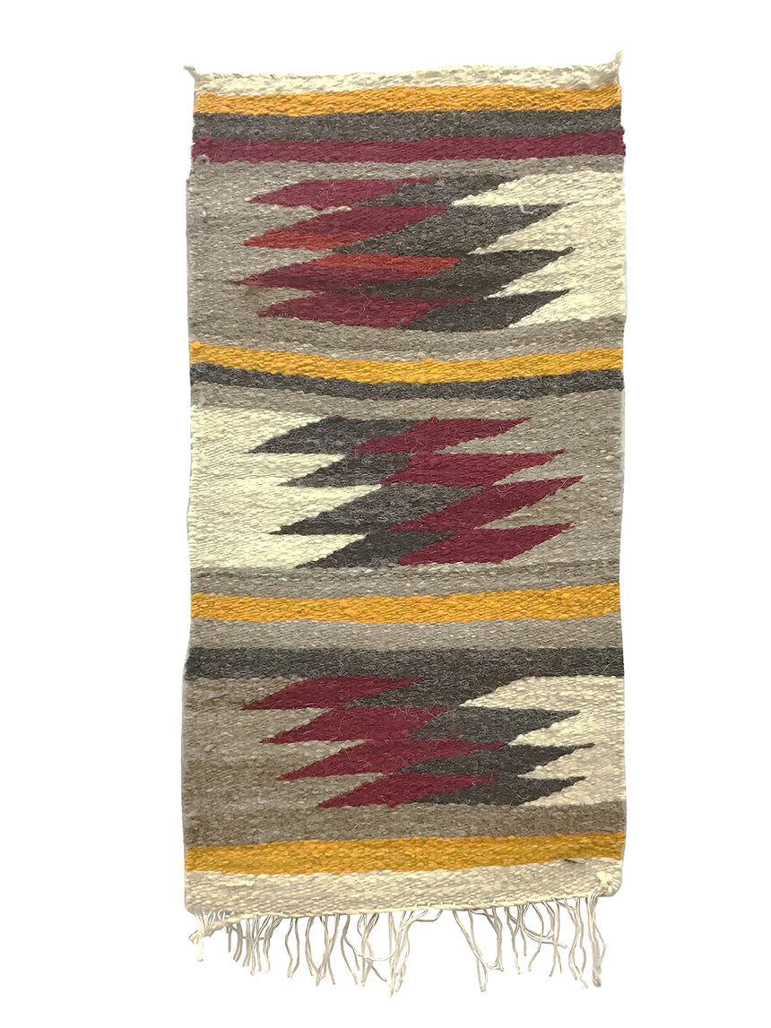 "Irene Skeets, Gallup Throw Rug, Navajo Handwoven, Wool, Cotton, 36"" x 18"""