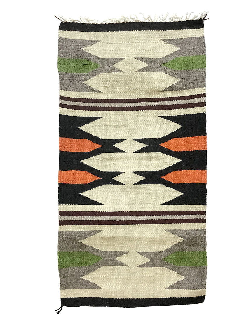 "Gallup Throw Rug, Navajo Handwoven, Wool, Cotton, 38"" x 20"""