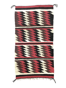 "Alice Spencer, Gallup Throw Rug, Navajo Handwoven, Wool, Cotton, 35"" x 18"""
