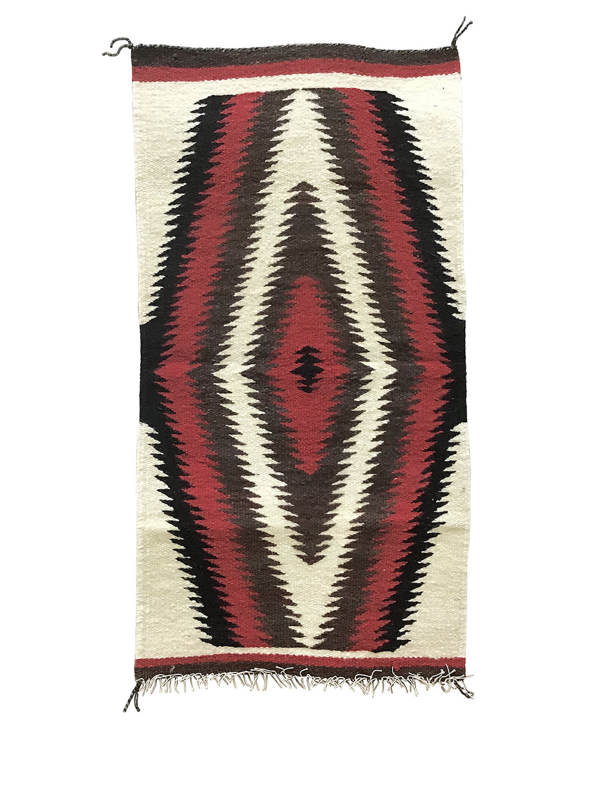 "Gallup Throw Rug, Navajo Handwoven, Wool, Cotton, 35 1/2"" x 18 1/2"""
