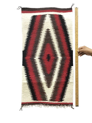 "Load image into Gallery viewer, Gallup Throw Rug, Navajo Handwoven, Wool, Cotton, 35 1/2"" x 18 1/2"""