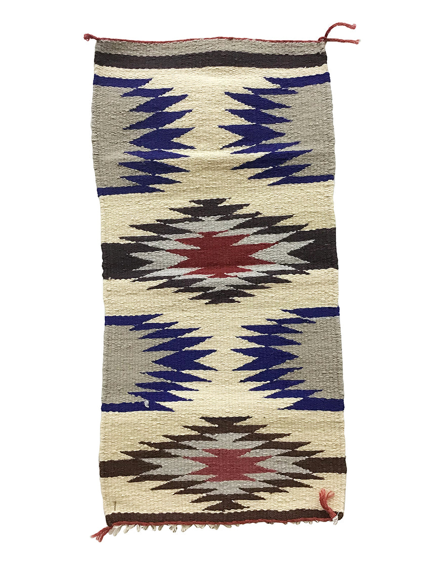 "Gallup Throw Rug, Navajo Handwoven, Wool, Cotton, 34 1/4"" x 17"""