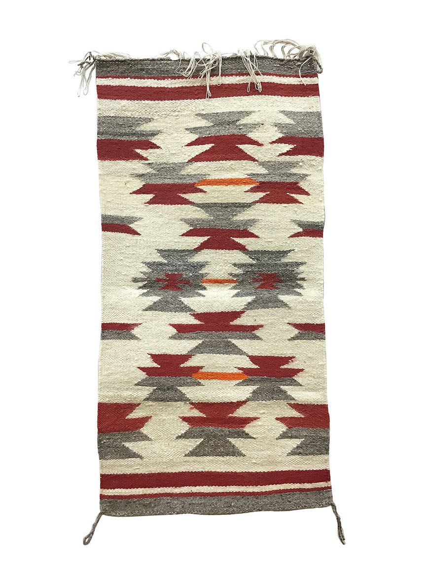 "Neddie John, Gallup Throw Rug, Navajo Handwoven, Wool, Cotton, 37"" x 18"""