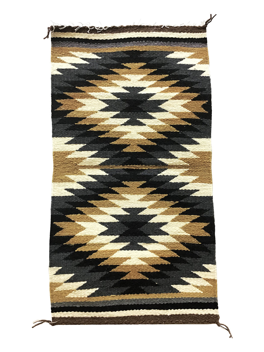 "Sally Arviso, Gallup Throw Rug, Navajo Handwoven, Wool, Cotton, 35 1/2"" x 19"""