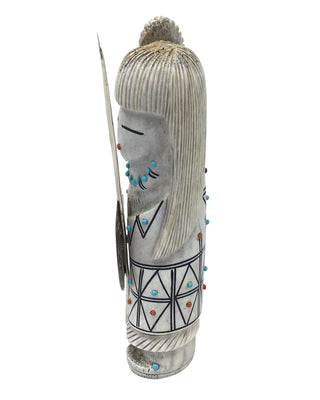Load image into Gallery viewer, Claudia Peina, Maiden Warrior,Elk Antler,Handmade Zuni Fetish, 6 1/2x2