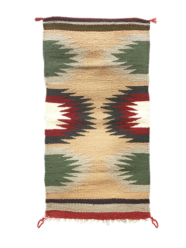 "Gallup Throw Rug, Navajo Handwoven, Wool, Cotton, 34"" x 18"""