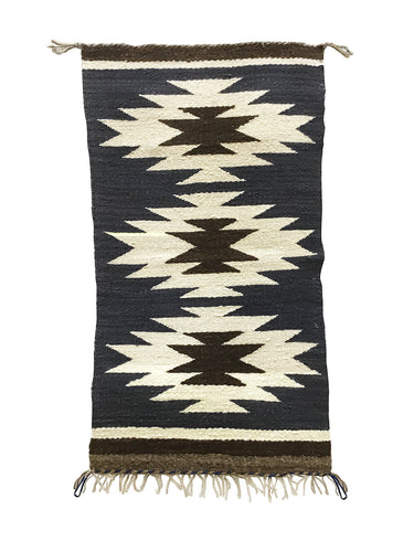 "Gallup Throw Rug, Navajo Handwoven, Wool, Cotton, 32 1/2"" x 18"""
