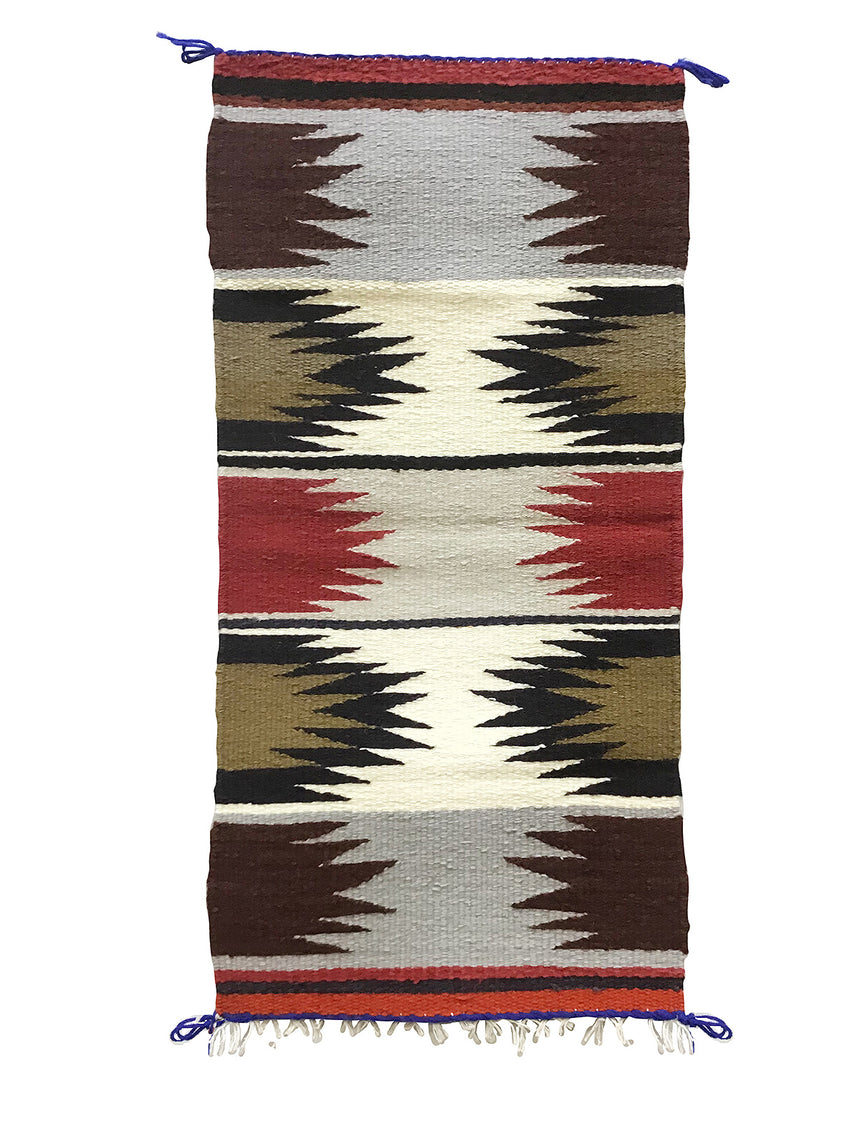 "Gallup Throw Rug, Navajo Handwoven, Wool, Cotton, 34 1/2"" x 16 1/2"""