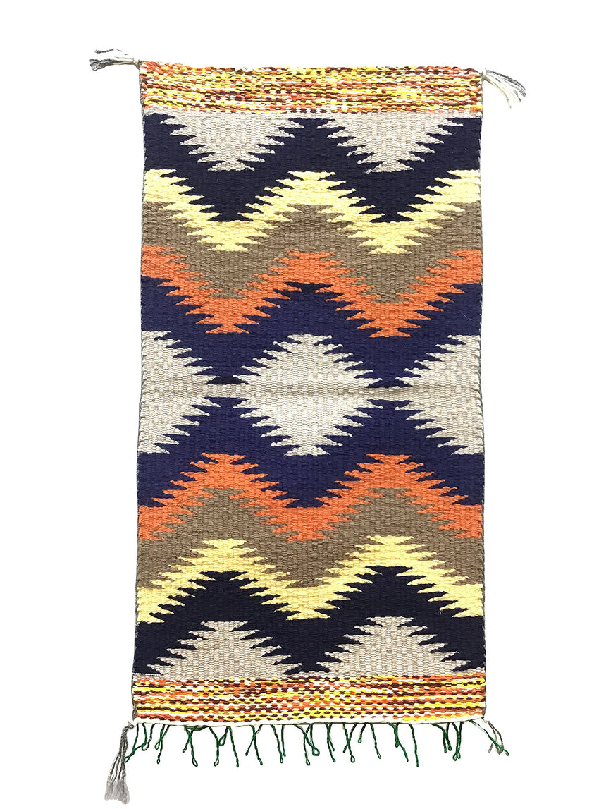 "Rose Yazzie, Gallup Throw Rug, Navajo Handwoven, Wool, Cotton, 36"" x 19"""