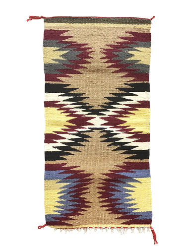 "Gallup Throw Rug, Navajo Handwoven, Wool, Cotton, 36"" x 18"""