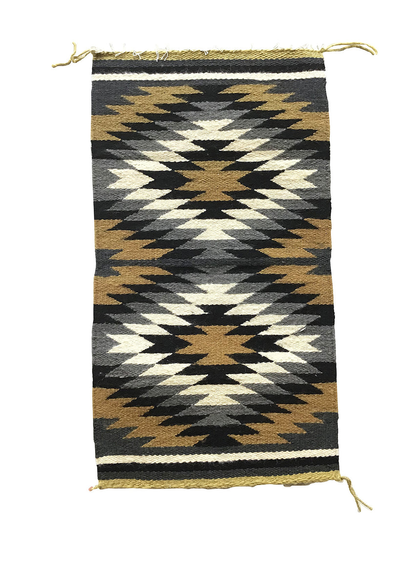 "Sally Arviso, Gallup Throw Rug, Navajo Handwoven, Wool, Cotton, 35"" x 19"""
