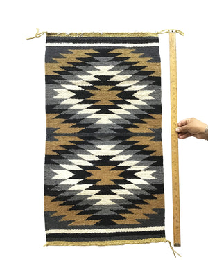 "Load image into Gallery viewer, Sally Arviso, Gallup Throw Rug, Navajo Handwoven, Wool, Cotton, 35"" x 19"""