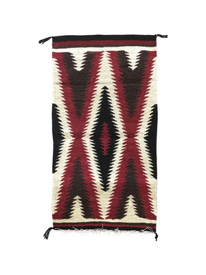 "Load image into Gallery viewer, Gallup Throw Rug, Navajo Handwoven, Wool, Cotton, 34"" x 18 1/2"""