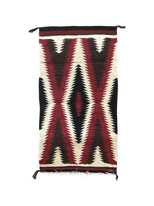 "Gallup Throw Rug, Navajo Handwoven, Wool, Cotton, 34"" x 18 1/2"""
