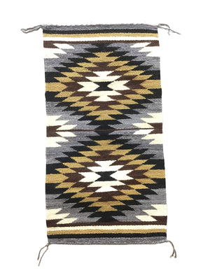 "Load image into Gallery viewer, Gallup Throw Rug, Navajo Handwoven, Wool, Cotton, 36"" x 19"""