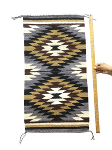 "Gallup Throw Rug, Navajo Handwoven, Wool, Cotton, 36"" x 19"""