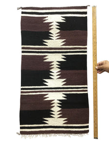 "Gallup Throw Rug, Navajo Handwoven, Wool, Cotton, 33 1/2"" x 18"""