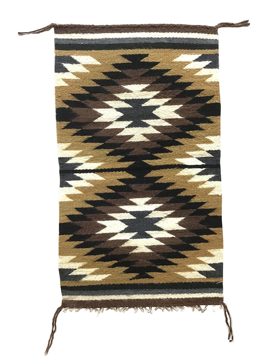 "Erica Livingston, Gallup Throw Rug, Navajo Handwoven, Wool, Cotton, 33"" x 20"""