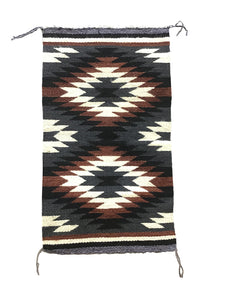 "Sally Arviso, Gallup Throw Rug, Navajo Handwoven, Wool, Cotton, 35"" x 20"""