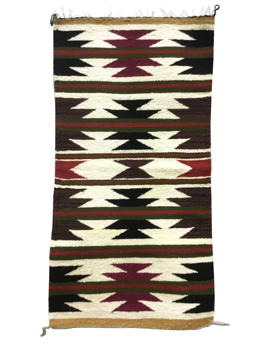 "Ruth Spencer, Gallup Throw Rug, Navajo Handwoven, Wool, Cotton, 39"" x 20"""