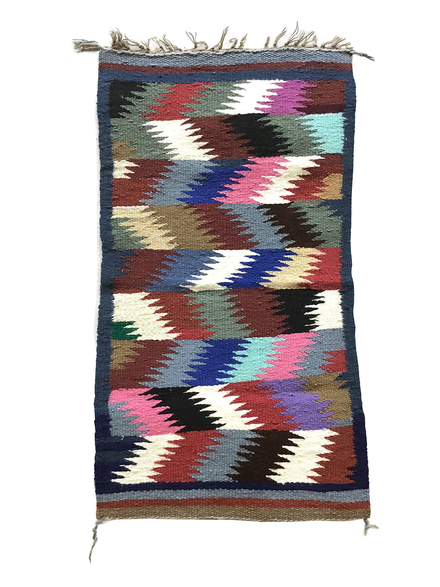 "Daisy Cowboy, Gallup Throw Rug, Navajo Handwoven, Wool, Cotton, 33"" x 18"""