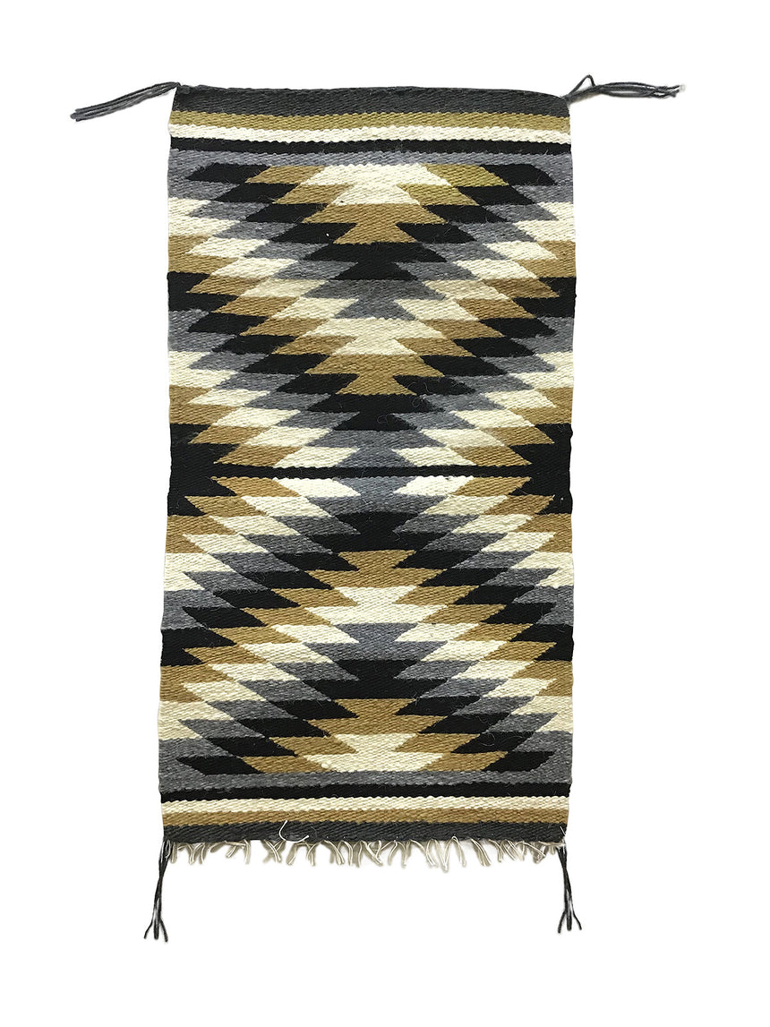 "Veronica Yazzie, Gallup Throw Rug, Navajo Handwoven, Wool, Cotton, 34"" x 19"""