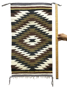 "Gallup Throw Rug, Navajo Handwoven, Wool, Cotton, 35"" x 19 1/2"""