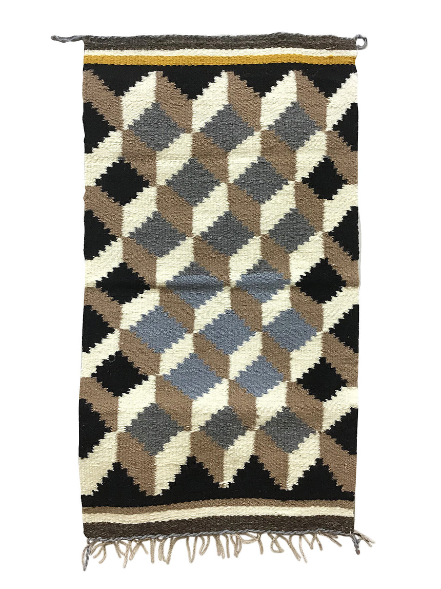 "Daisy Cowboy, Gallup Throw Rug, Navajo Handwoven, Wool, Cotton, 34"" x 19"""