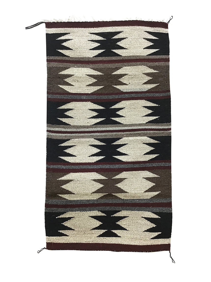 "Faye Peterson, Gallup Throw Rug, Navajo Handwoven, Wool, Cotton, 37"" x 20"""