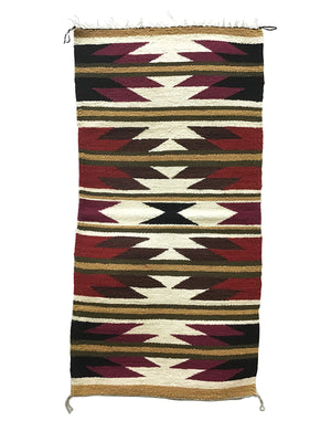 "Load image into Gallery viewer, Faye Peterson, Gallup Throw Rug, Navajo Handwoven, Wool, Cotton, 39 1/2"" x 20"""