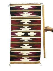 "Faye Peterson, Gallup Throw Rug, Navajo Handwoven, Wool, Cotton, 39 1/2"" x 20"""