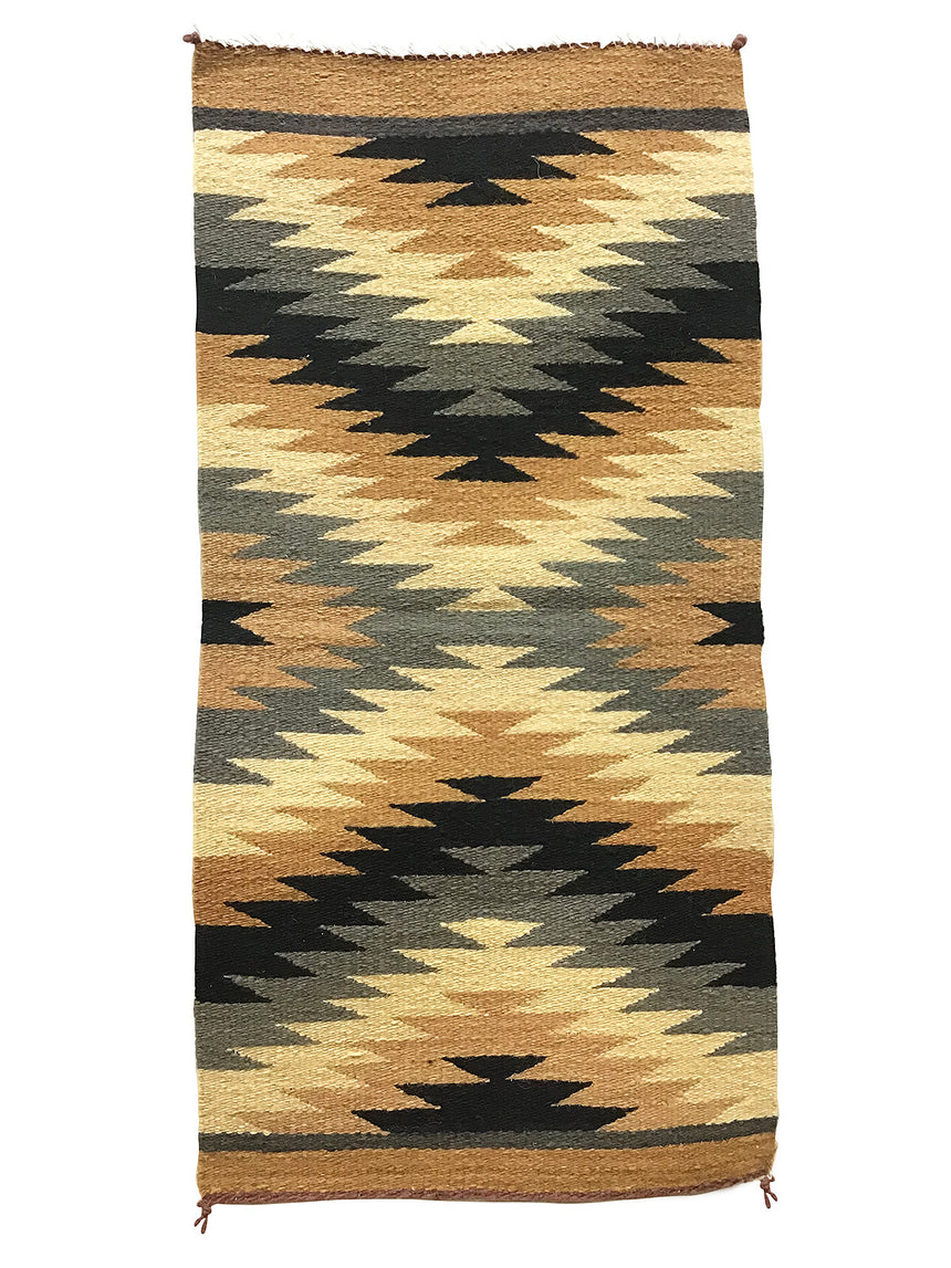 "Celina Daniels, Gallup Throw Rug, Navajo Handwoven, Wool, Cotton, 39"" x 19 1/2"""