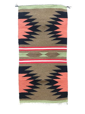 "Load image into Gallery viewer, Gallup Throw Rug, Navajo Handwoven, Wool, Cotton, 38 1/2"" x 19"""