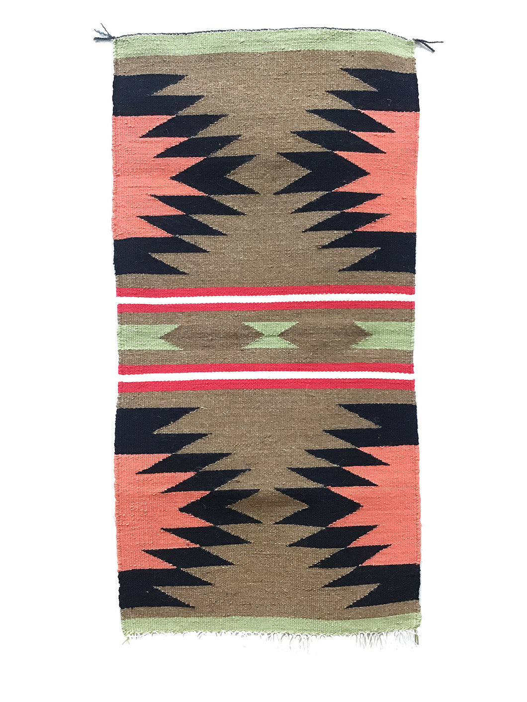 "Gallup Throw Rug, Navajo Handwoven, Wool, Cotton, 38 1/2"" x 19"""