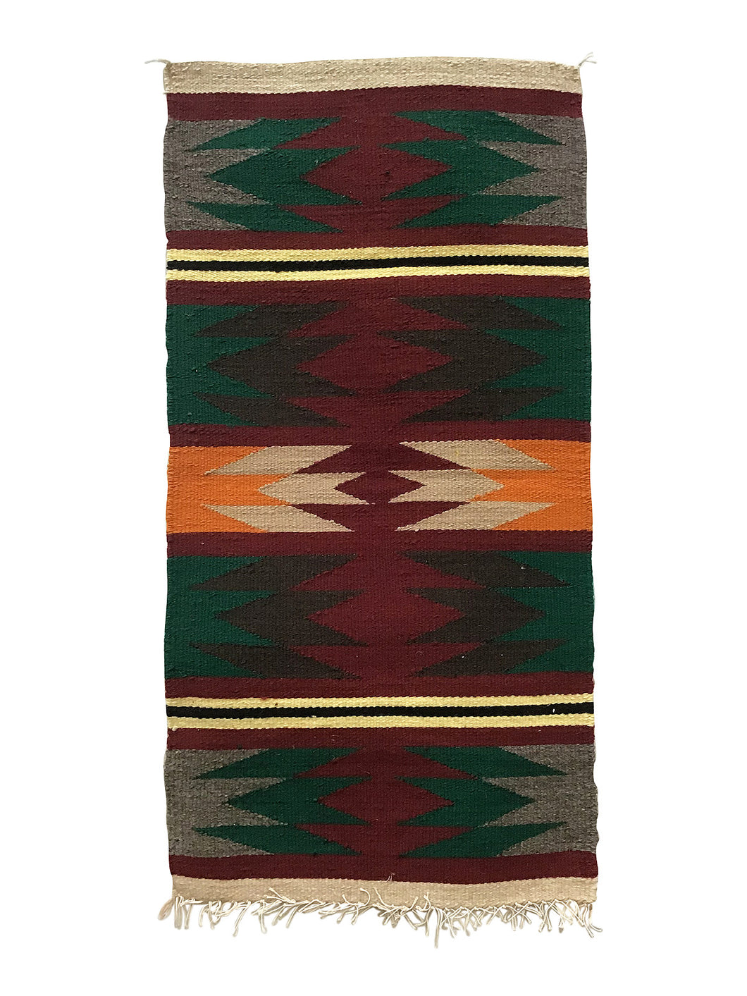 "Jennie Peterson, Gallup Throw Rug, Navajo Handwoven, Wool, Cotton, 39"" x 21"""