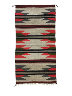 "Load image into Gallery viewer, Faye Peterson, Gallup Throw Rug, Navajo Handwoven, Wool, Cotton, 38 1/2"" x 20"""