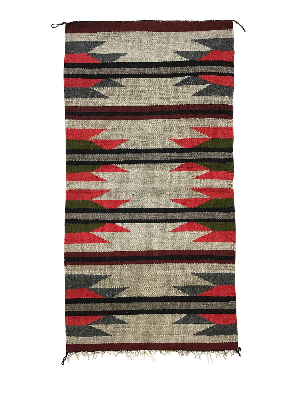"Faye Peterson, Gallup Throw Rug, Navajo Handwoven, Wool, Cotton, 38 1/2"" x 20"""
