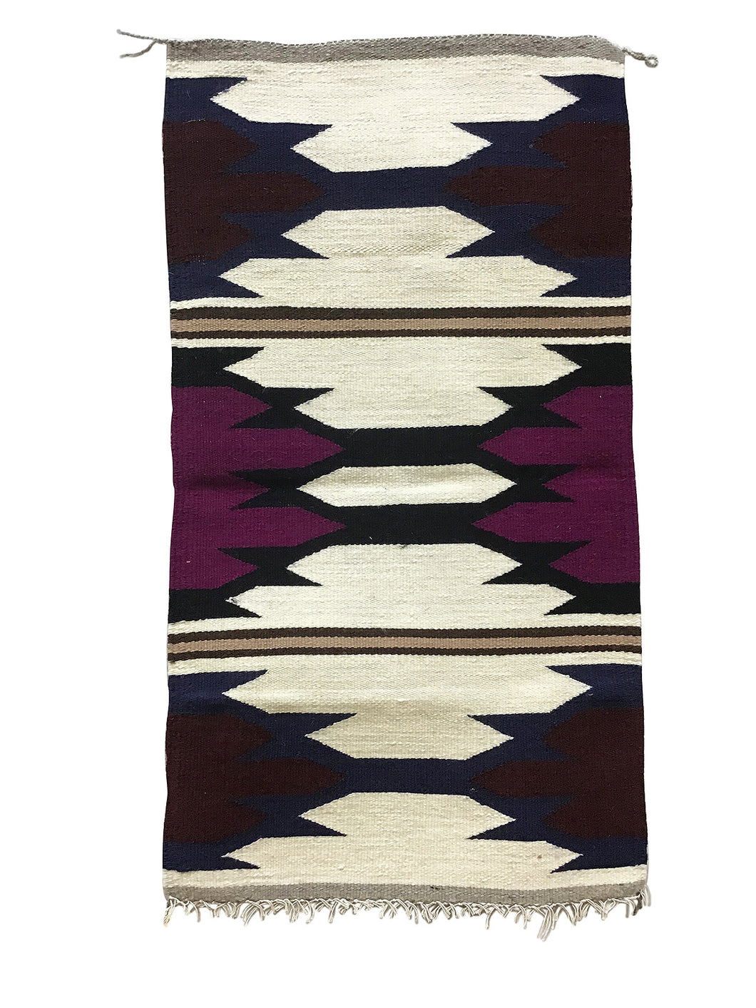 "Faye Peterson, Gallup Throw Rug, Navajo Handwoven, Wool, Cotton, 37"" x 20 1/2"""